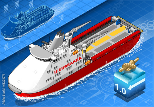 Isometric Icebreaker Ship Isolated in Navigation