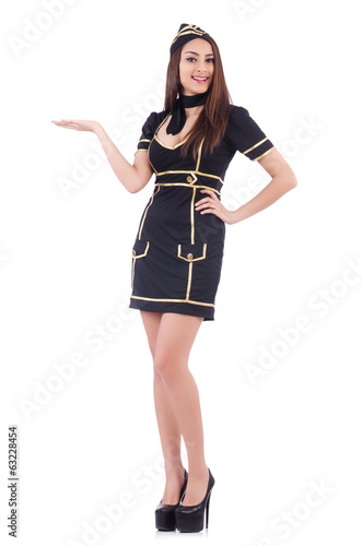 Young airhostess holding hands isolated on white