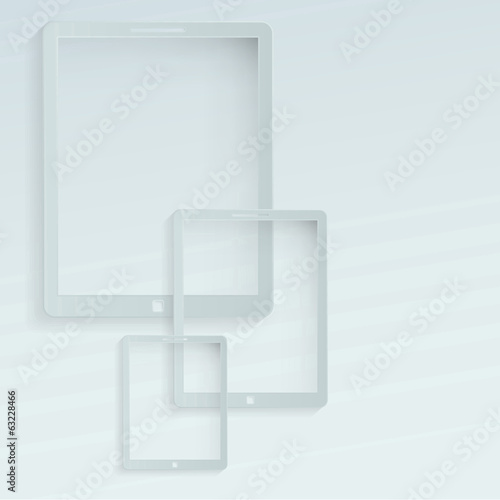 Tablet looking devices flat background