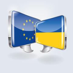 Sprechblasen mit Europa und Ukraine