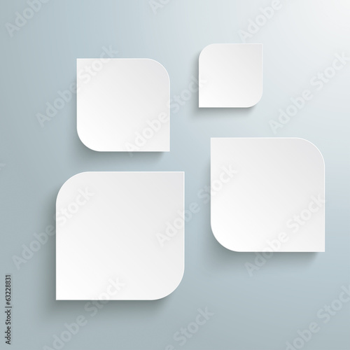 4 Absctract White Round Quadrates Design