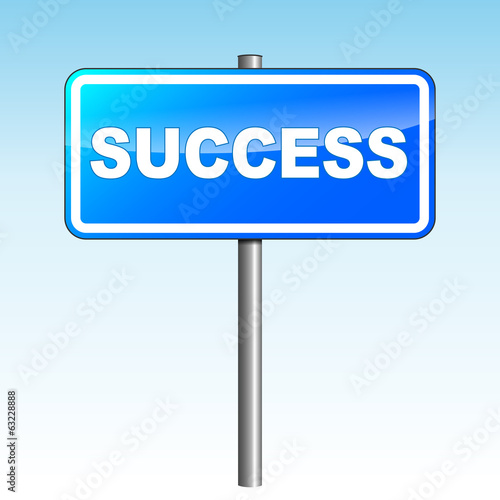 Vector illustration of blue success signpost on sky background
