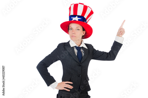 Young woman with american symbols on white