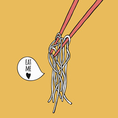 Hand drawn noodle with chopsticks. Asian food illustration