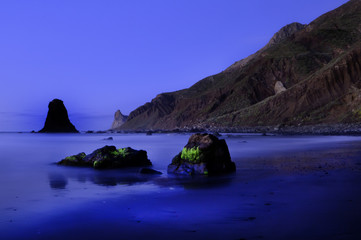 The beach of black sand of Benijo in Canary Islands.