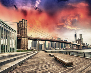 Brooklyn Bridge Park, New York. Beautiful view of Bridge and Man
