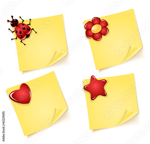 Sheets of paper with ladybug  flower heart asterisk