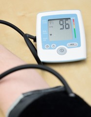 Instrument for measuring blood pressure on hand.