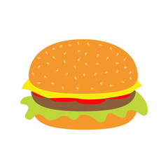 Tasty hamburger icon with meat, tomato, salad and cheese.