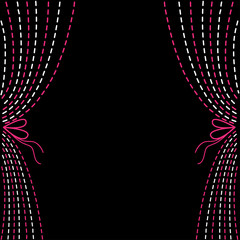 Dash line curtains. Pink and white on black background.