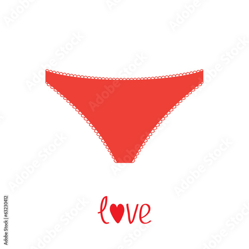 Red women's underwear panties. Love card.