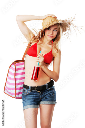 Blonde girl in beachwear