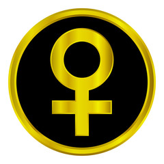 Gold gender female symbol button