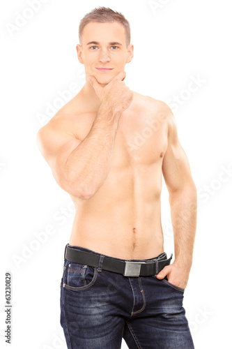 Handsome shirtless man posing