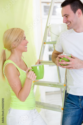 Couple on break while renovating new