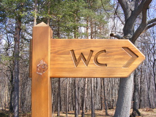 Toilet WC sign in the forest