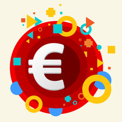 Euro sign on abstract colorful made from circles background with