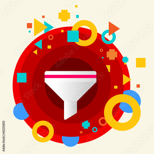 Funnel on abstract colorful made from circles background with di