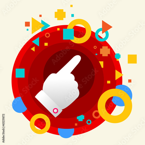 Forefinger shows at abstract colorful made from circles backgrou