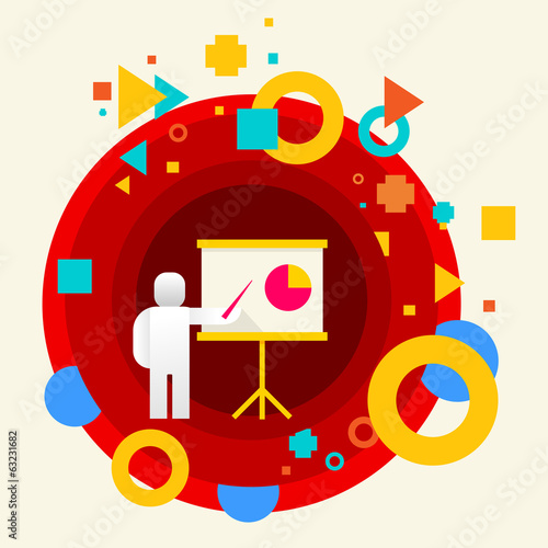 Human with a pointer on abstract colorful made from circles back