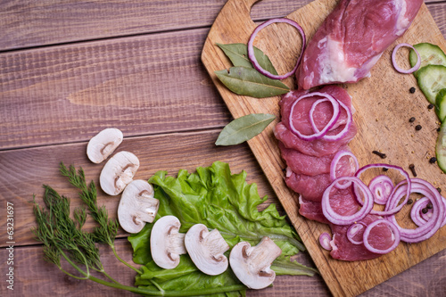 Sliced ​​raw meat pork