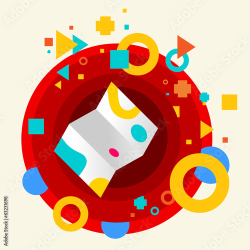 Map on abstract colorful made from circles background with diffe