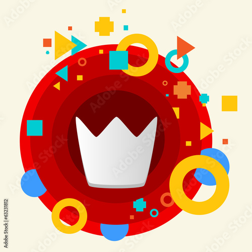 Crown on abstract colorful made from circles background with dif