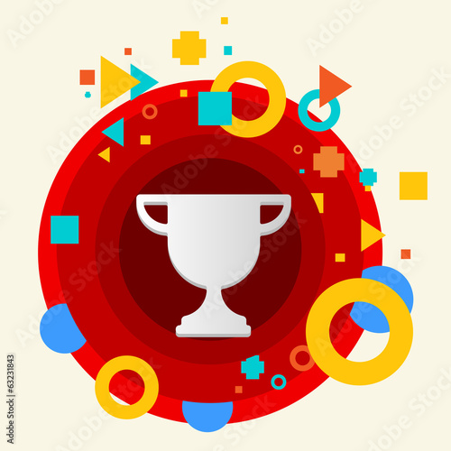 Cup winner on abstract colorful made from circles background wit