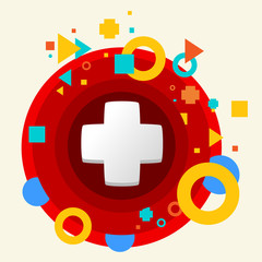 Plus on abstract colorful made from circles background with diff