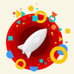 Rocket on abstract colorful made from circles background with di