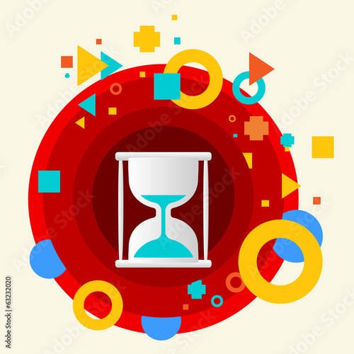 Hourglass on abstract colorful made from circles background with