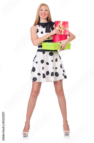 Young woman with christmas shopping on white