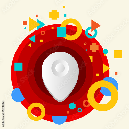 Geo location on abstract colorful made from circles background w