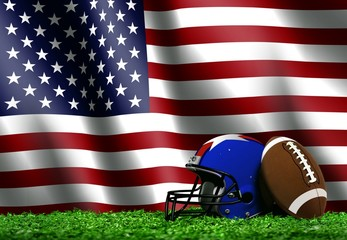 Football with American Flag Background