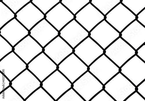 Silhouette of wired fence isolated on white, vector