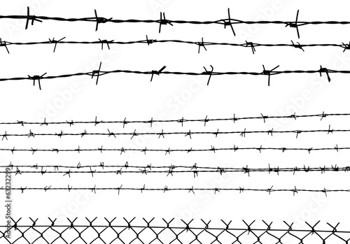 silhouette of the barbed wire isolated on white, vector