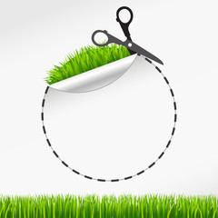 scissors cut round sticker. Green grass