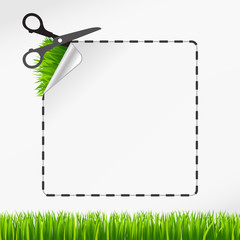 scissors cut sticker. Green grass