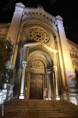 Eglise Saint-Pierre-d'Arene de Nice at night. France
