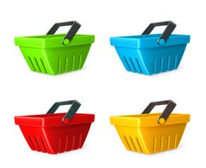 Shopping basket vector icon set