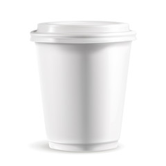 White paper cup with lid, detailed vector illustration