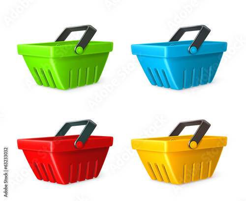 Shopping basket vector icon set