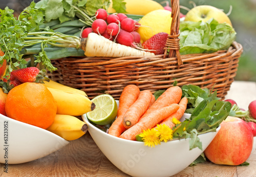 Spring fresh fruits and vegetables