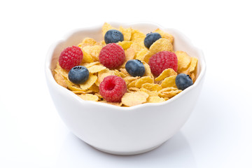 corn flakes with berries, isolated