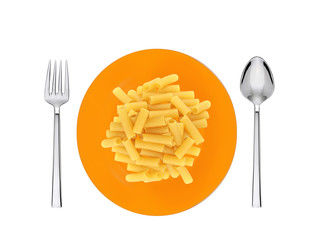 Delicious colorful spaghetti on plate on white background