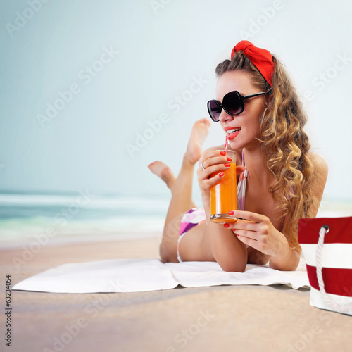 Pin-up girl on the beach