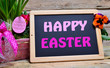 canvas print picture - Happy Easter Tafel Schild
