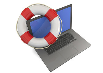 COMPUTER AND LIFE BUOY - 3D