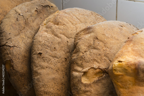Italian bread loaf cooked in traditional oven
