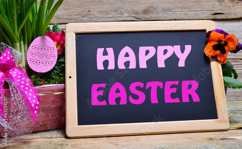 canvas print picture Happy Easter Tafel Schild